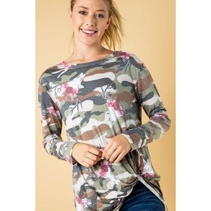 NWT Camouflage floral deer skull twist knot top
